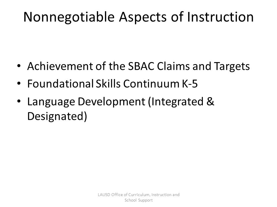 Nonnegotiable Aspects of Instruction