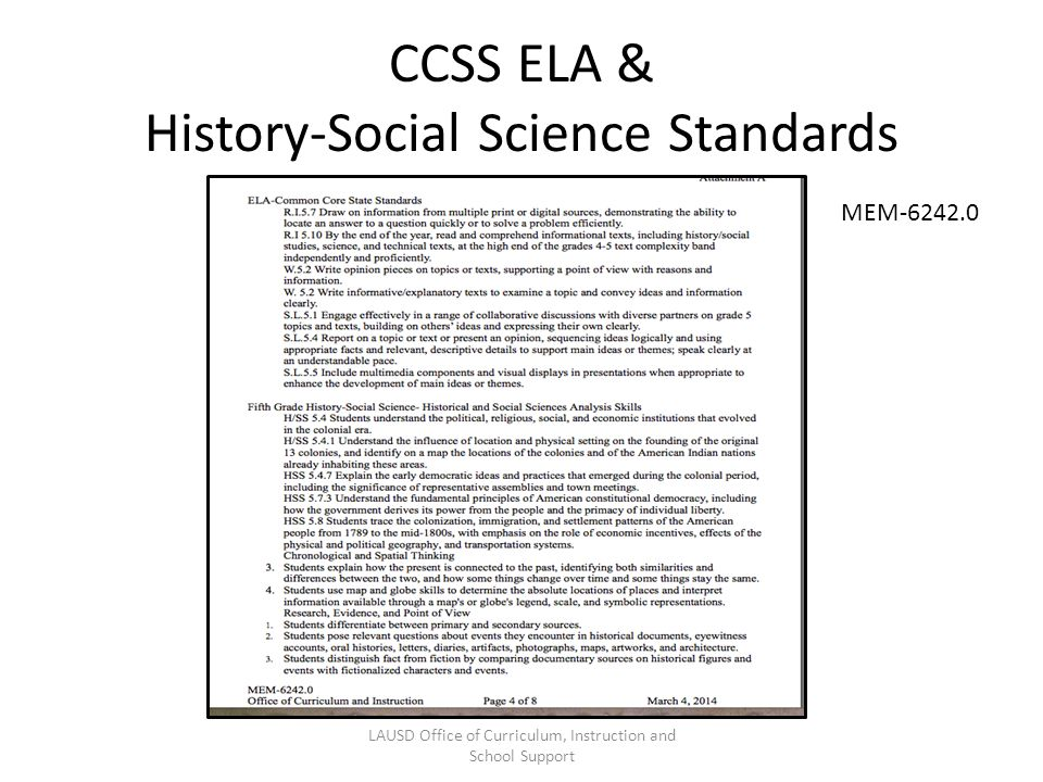 CCSS ELA & History-Social Science Standards