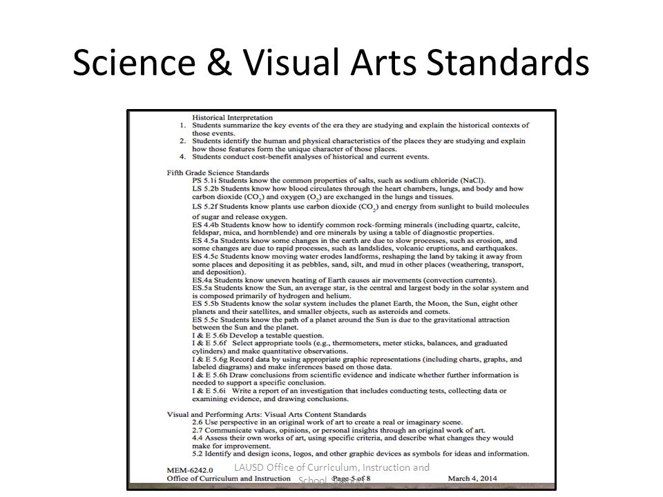 Science & Visual Arts Standards