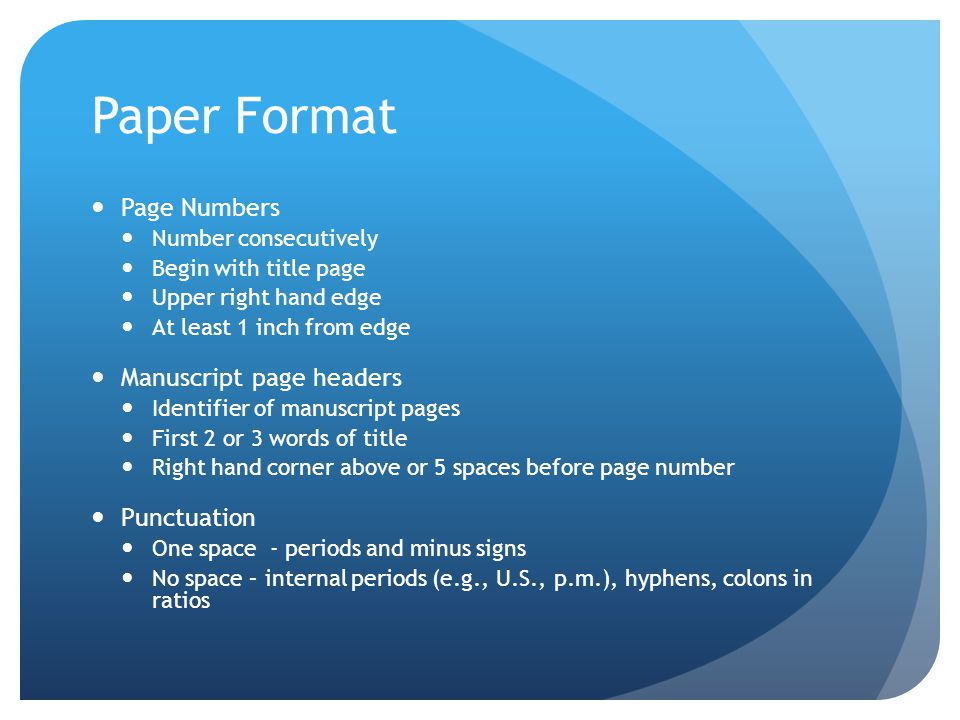 Paper Format Page Numbers Manuscript page headers Punctuation