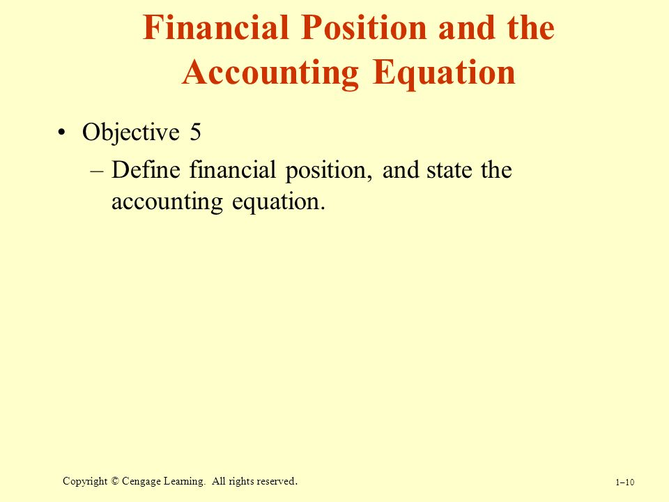 Financial Position and the Accounting Equation