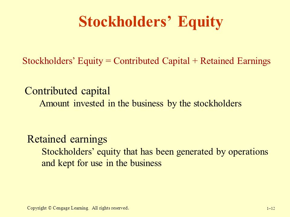 Stockholders' Equity Contributed capital Retained earnings
