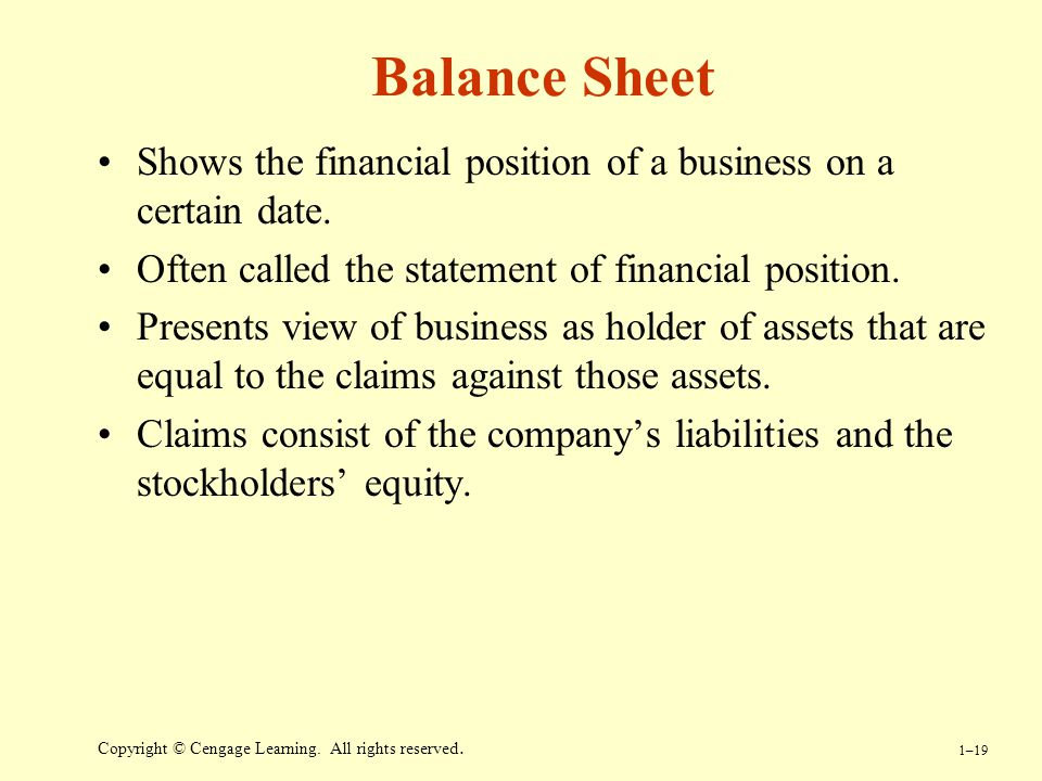 Balance Sheet Shows the financial position of a business on a certain date. Often called the statement of financial position.