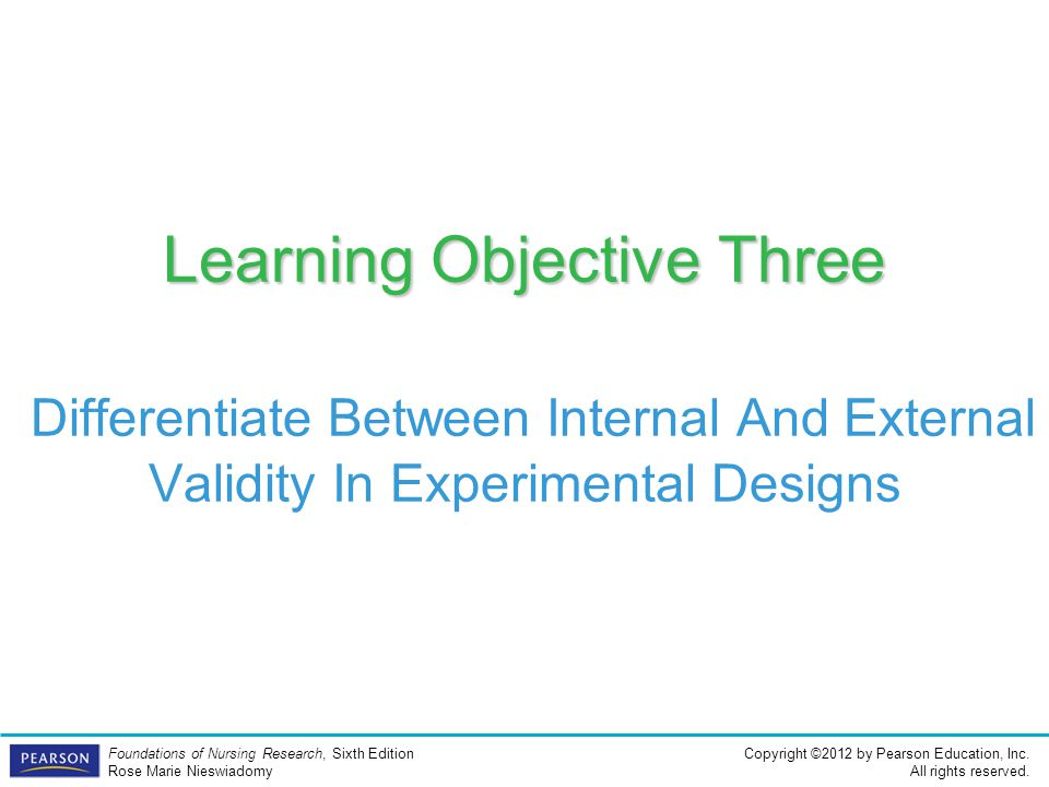 Learning Objective Three Differentiate Between Internal And External Validity In Experimental Designs