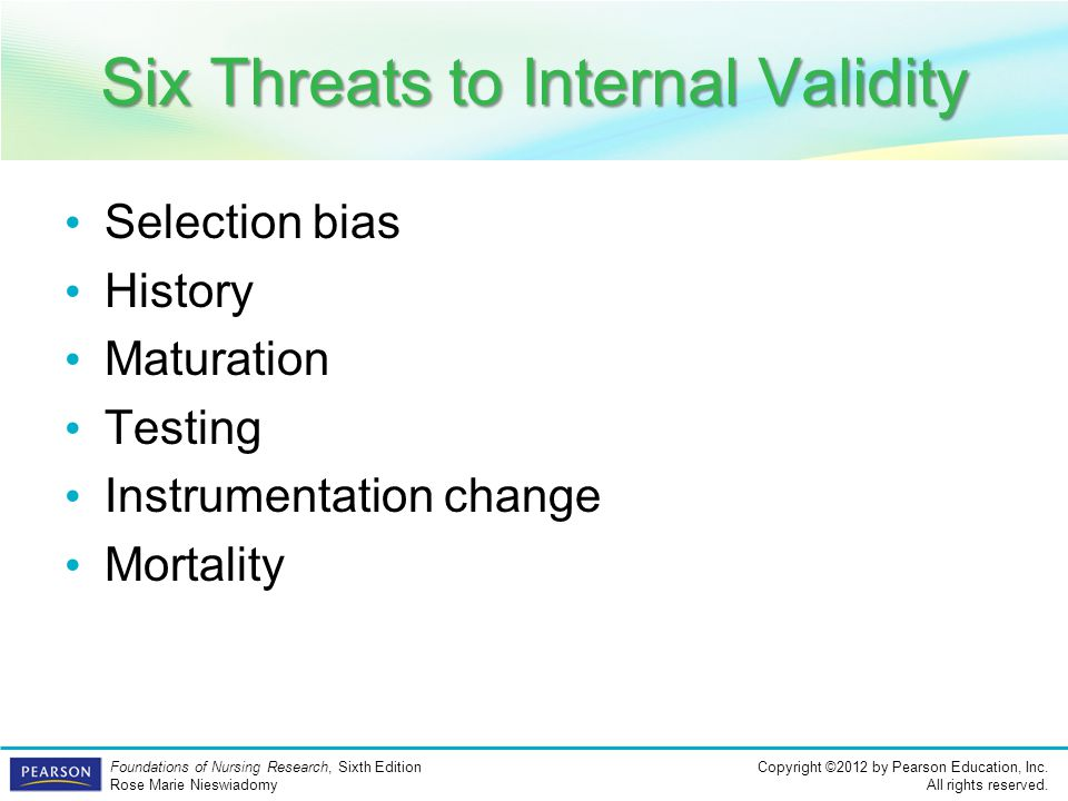 Six Threats to Internal Validity