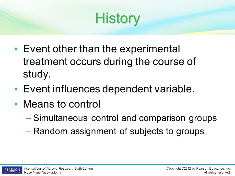 History Event other than the experimental treatment occurs during the course of study. Event influences dependent variable.