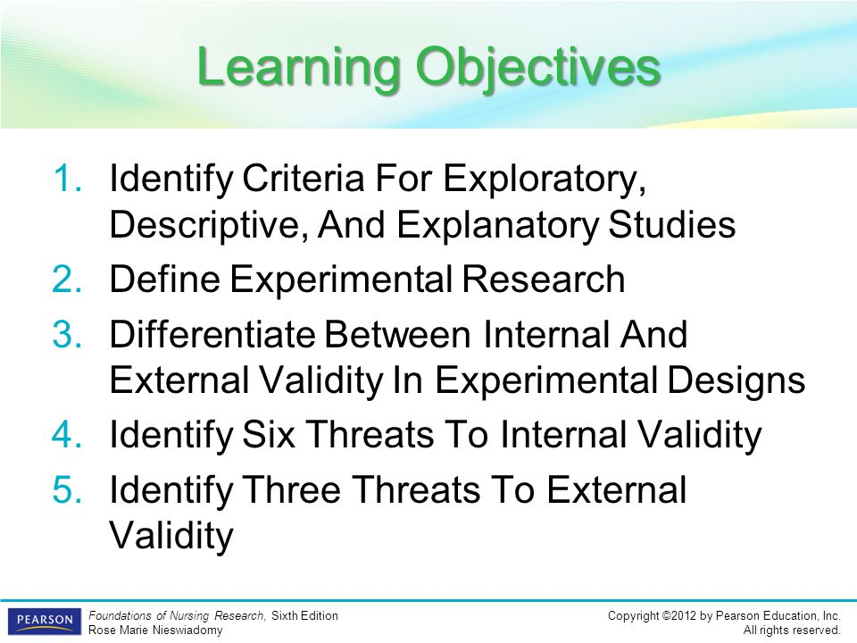 Learning Objectives Identify Criteria For Exploratory, Descriptive, And Explanatory Studies. Define Experimental Research.