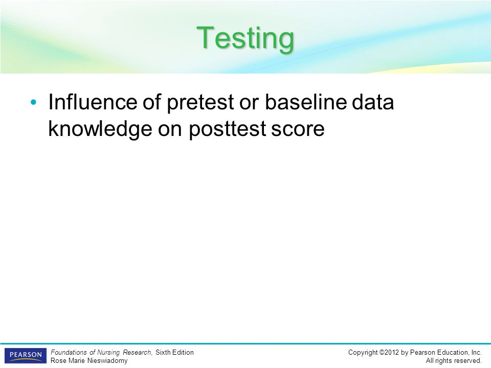 Testing Influence of pretest or baseline data knowledge on posttest score