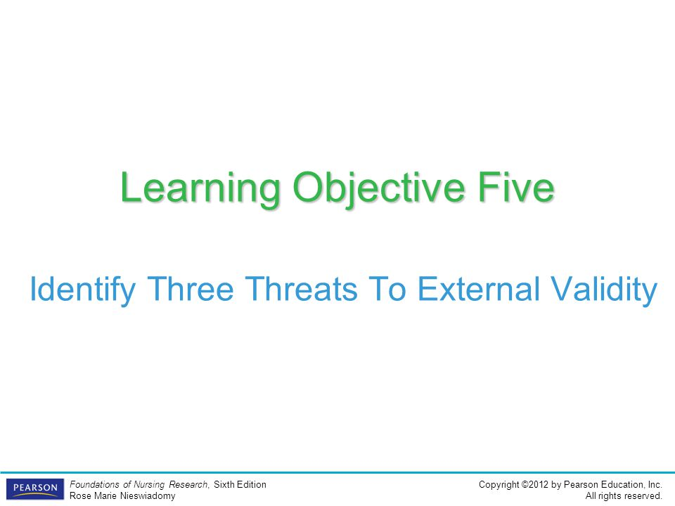 Learning Objective Five Identify Three Threats To External Validity
