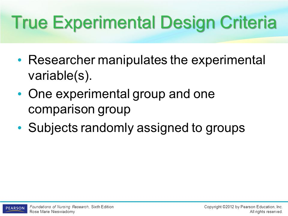 True Experimental Design Criteria