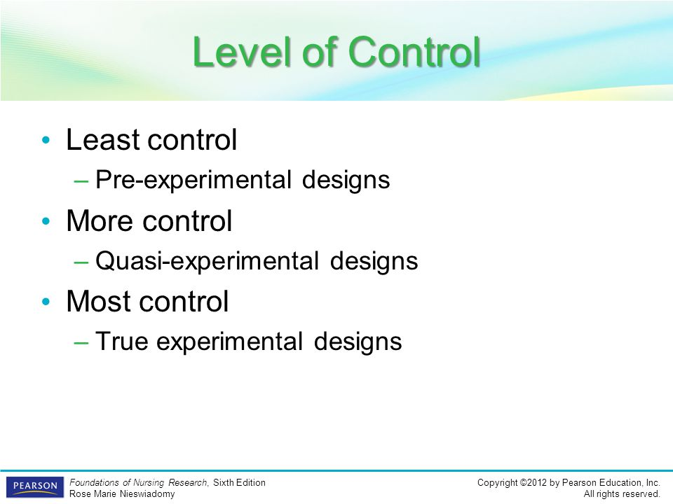 Level of Control Least control More control Most control