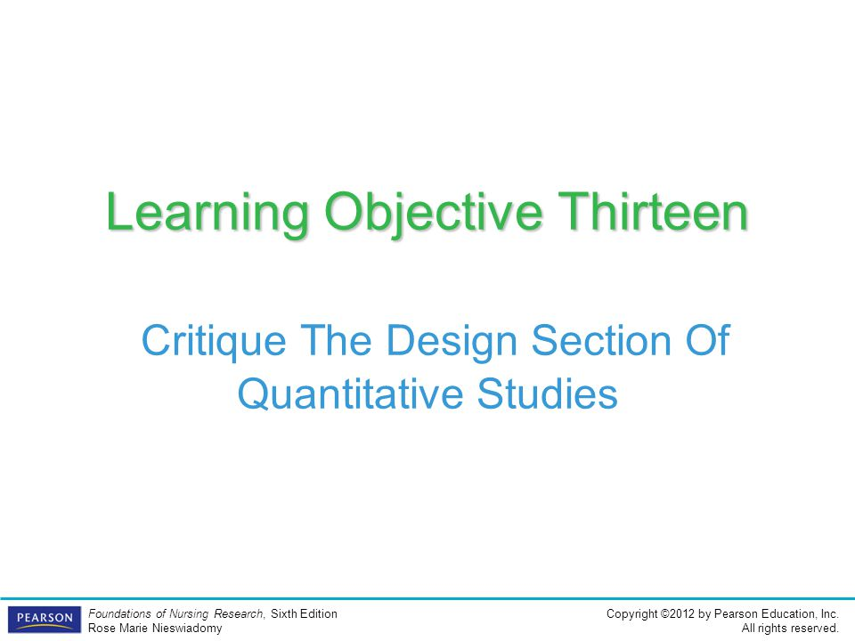 Learning Objective Thirteen Critique The Design Section Of Quantitative Studies