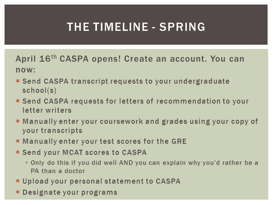 the timeline spring april 16th caspa opens create an account you can now