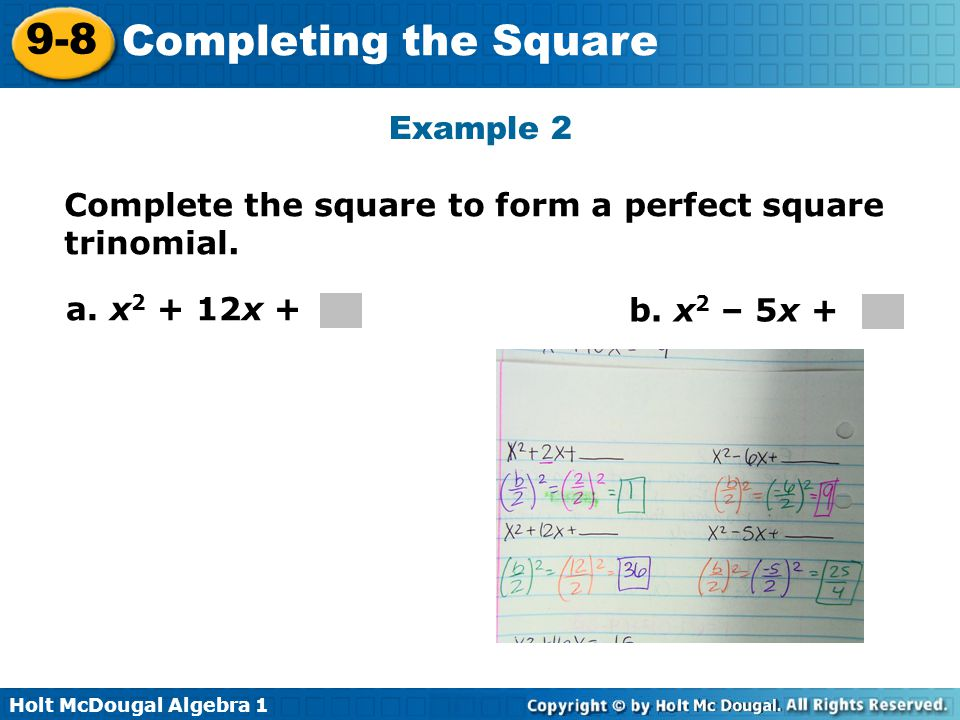 Objective Solve Quadratic Equations By Completing The Square Ppt