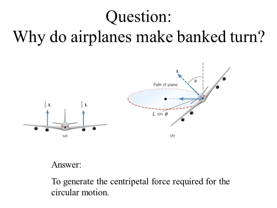 Question: Why do airplanes make banked turn