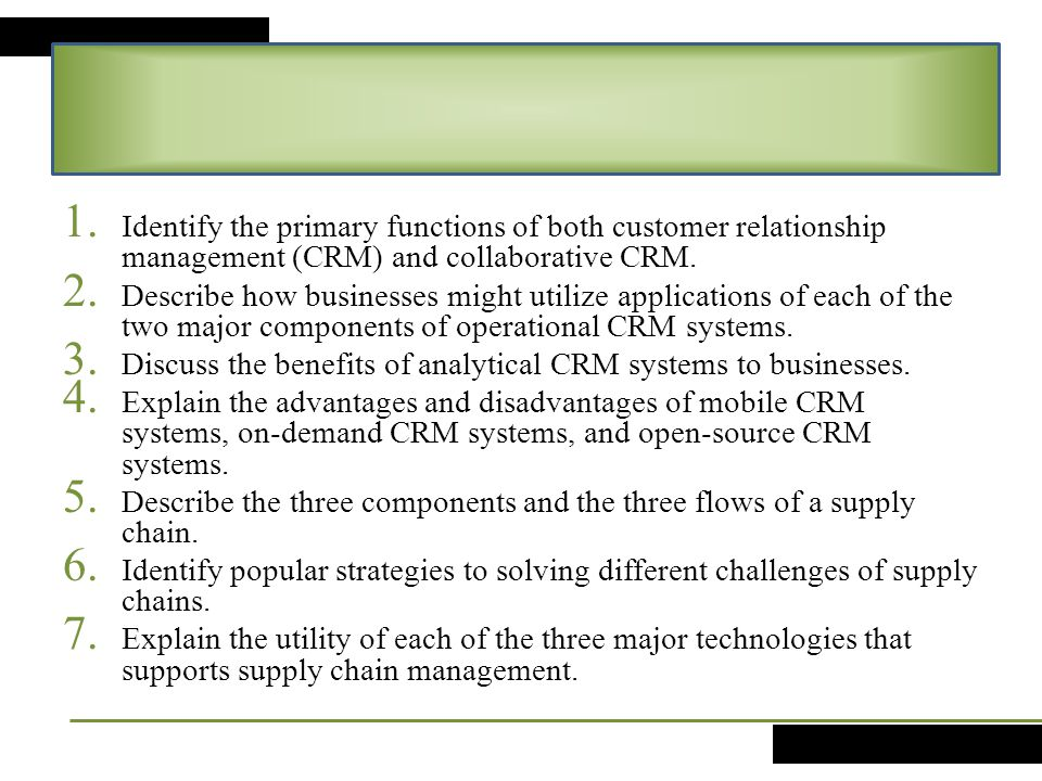 Customer Relationship Management And Supply Chain