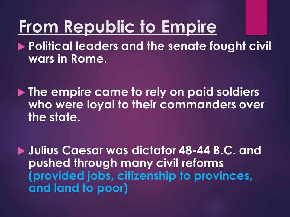 From Republic to Empire