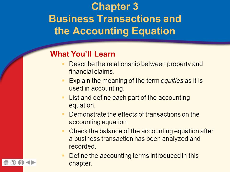 Chapter 3 Business Transactions and the Accounting Equation - ppt