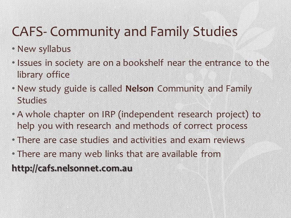 cafs irp topics