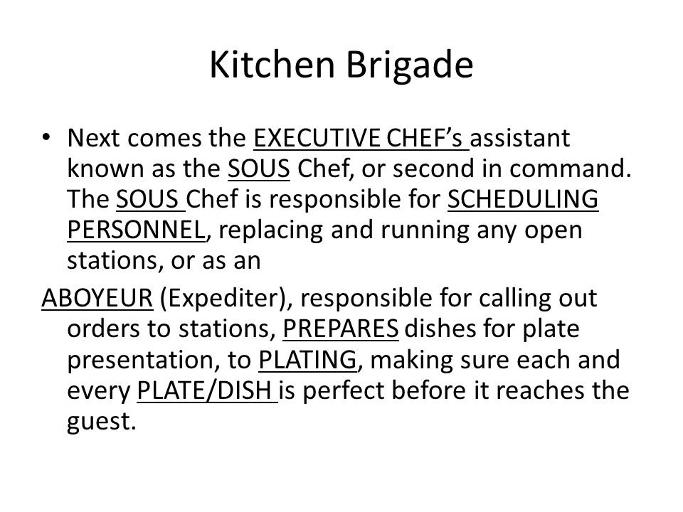 kitchen brigade - Kitchen Brigade