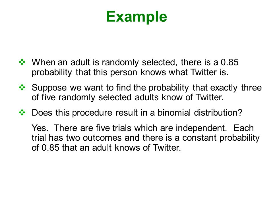 Example When an adult is randomly selected, there is a 0.85 probability that this person knows what Twitter is.