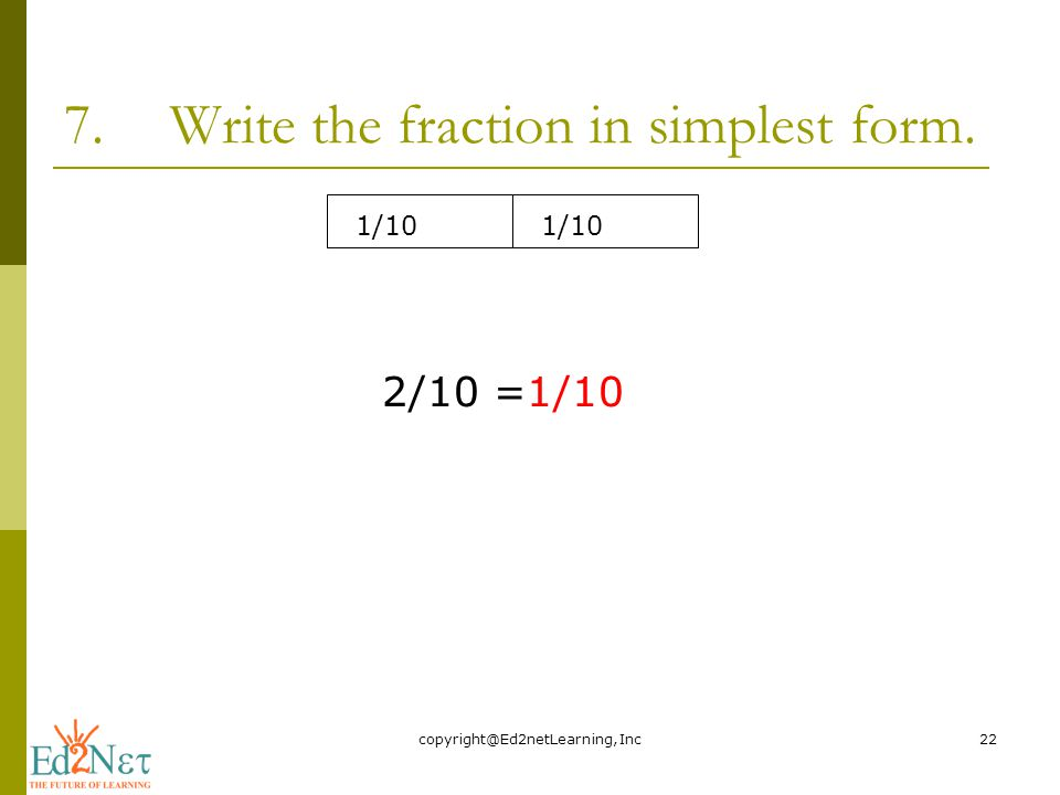 simplest form 2/10  FRACTIONS IN SIMPLEST FORM - ppt video online download