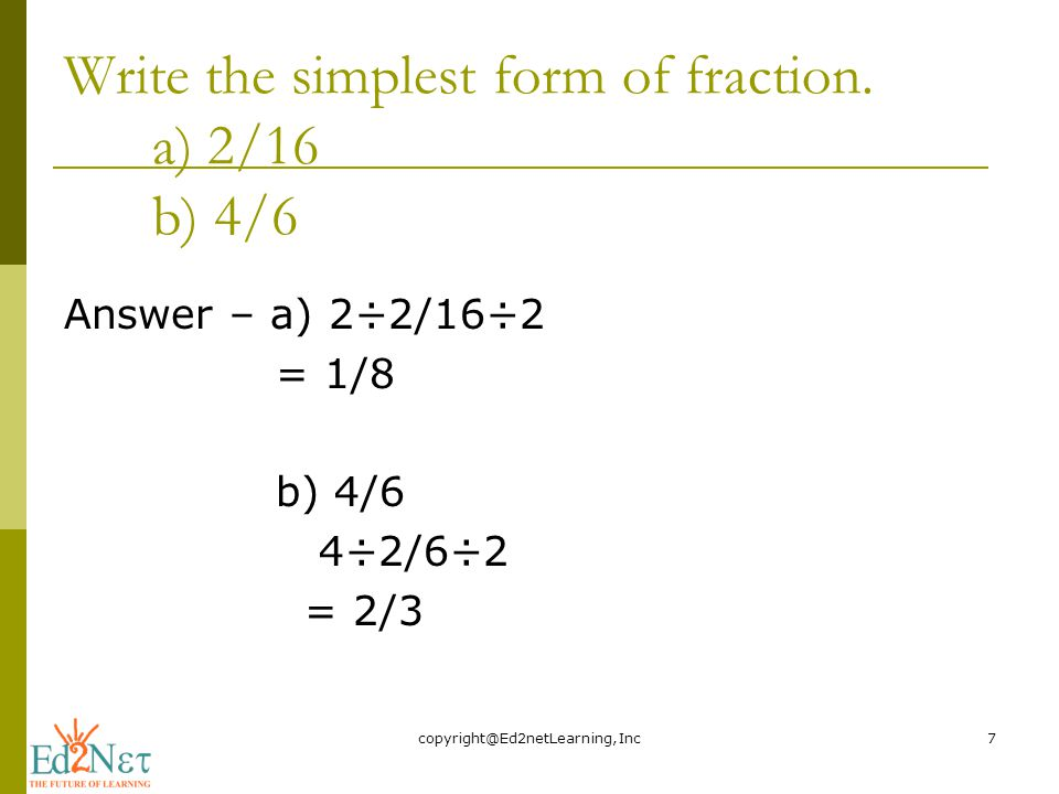 simplest form 4/6  FRACTIONS IN SIMPLEST FORM - ppt video online download