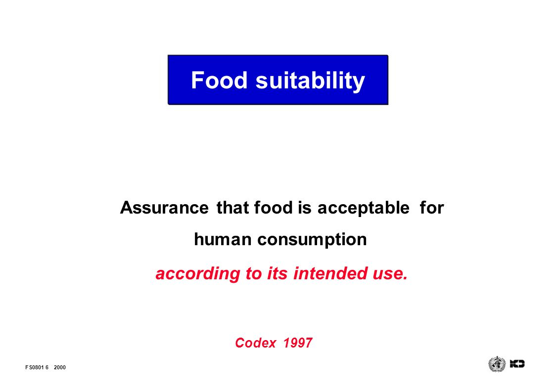 Food suitability Assurance that food is acceptable for human consumption. according to its intended use.