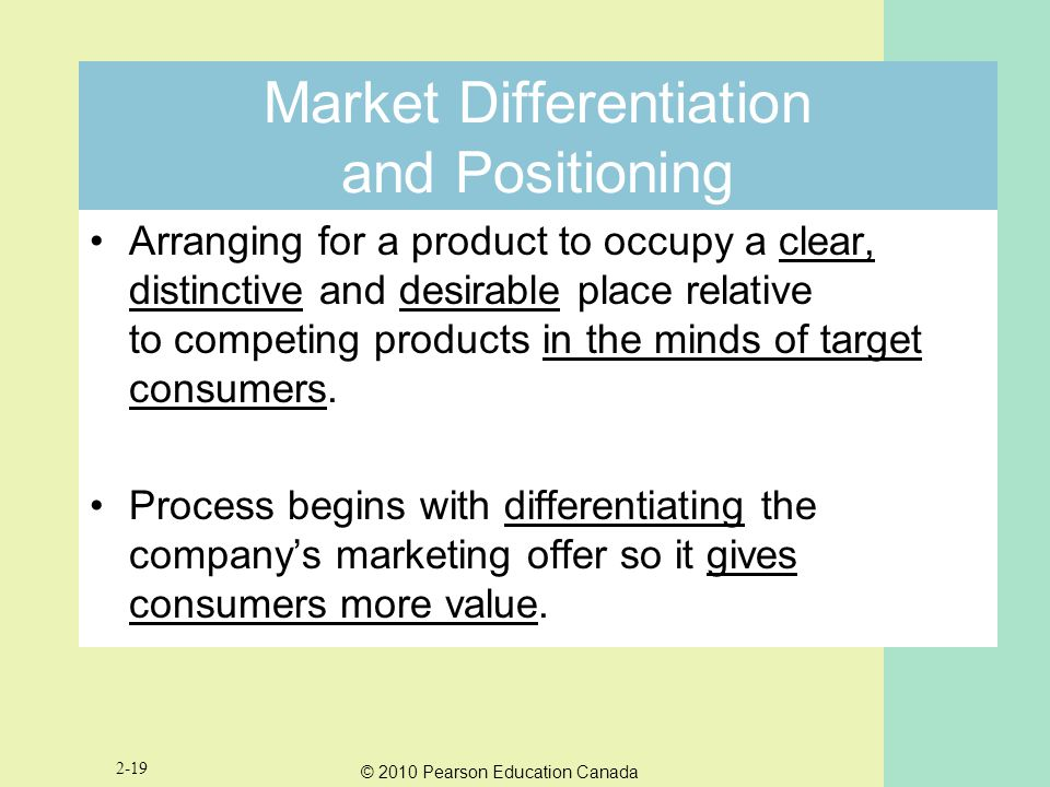 Market Differentiation and Positioning