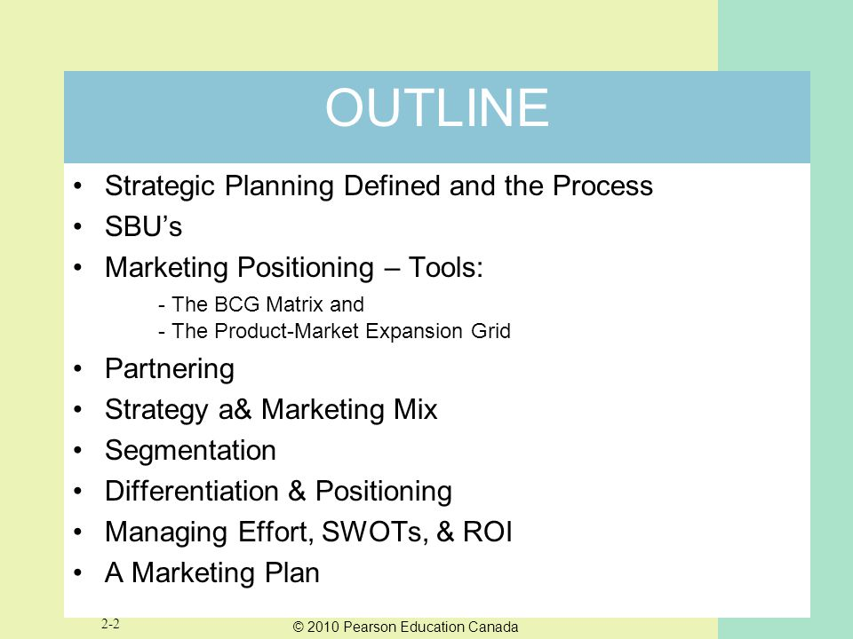 OUTLINE Strategic Planning Defined and the Process SBU's