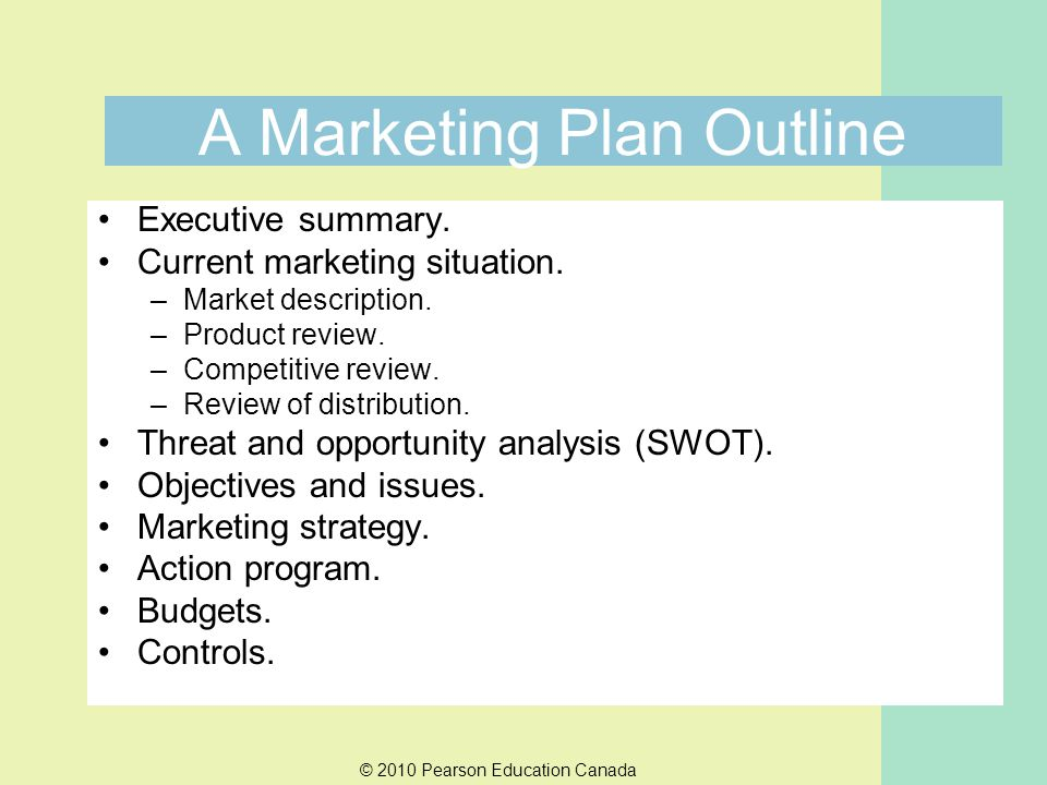 A Marketing Plan Outline