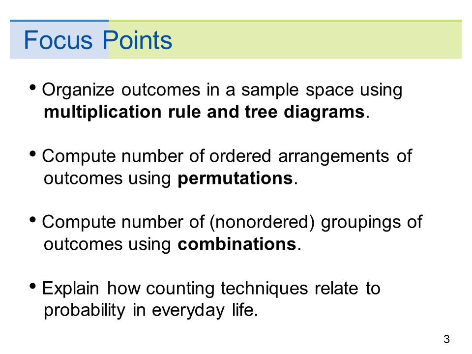 Elementary probability theory ppt download focus points organize outcomes in a sample space using multiplication rule and tree diagrams ccuart Image collections