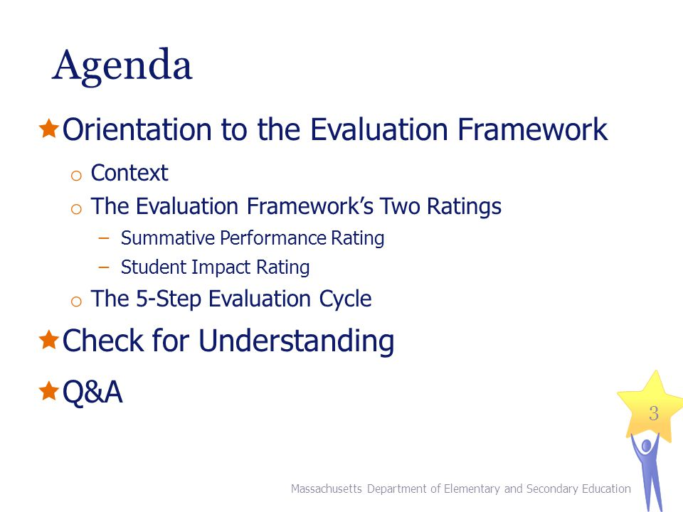 Agenda Orientation to the Evaluation Framework Check for Understanding