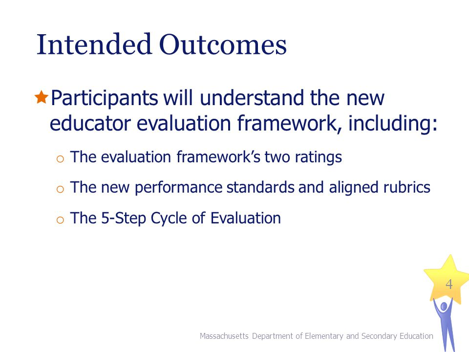 Intended Outcomes Participants will understand the new educator evaluation framework, including: The evaluation framework's two ratings.