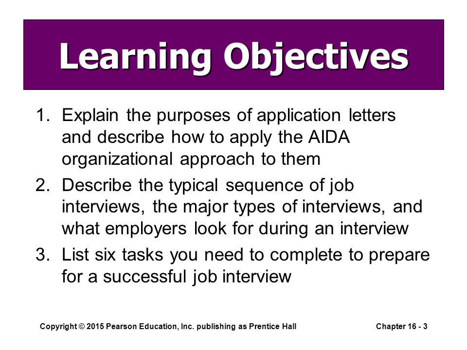 learning objectives explain the purposes of application letters and describe how to apply the aida organizational