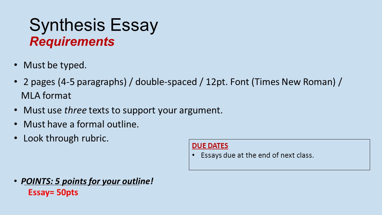embedded assessment  synthesis essay   ppt video online download synthesis essay requirements