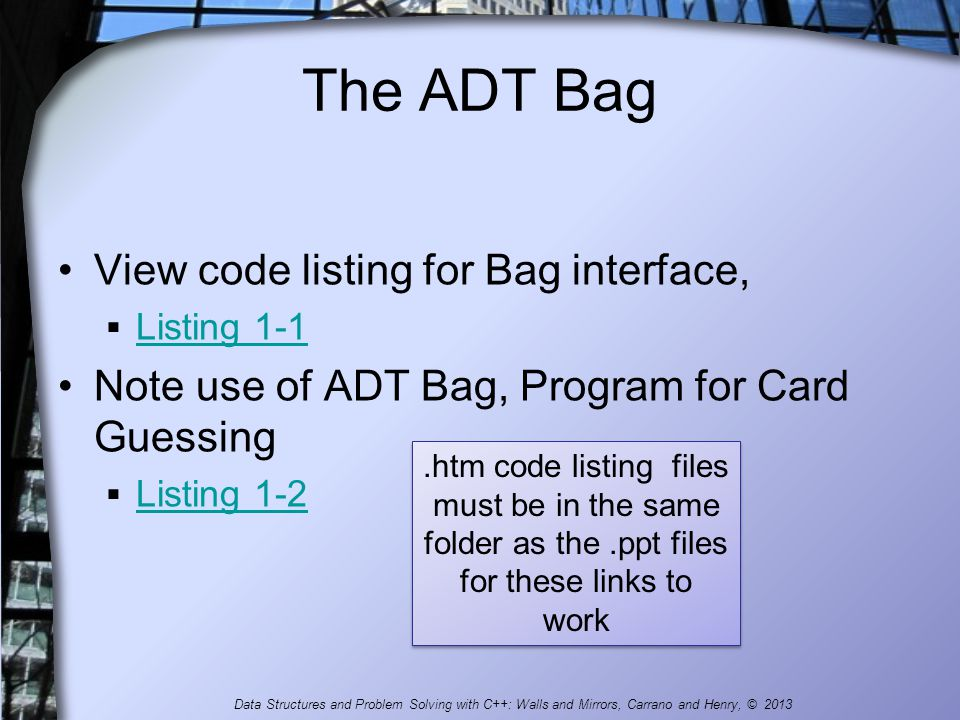 The ADT Bag View code listing for Bag interface,