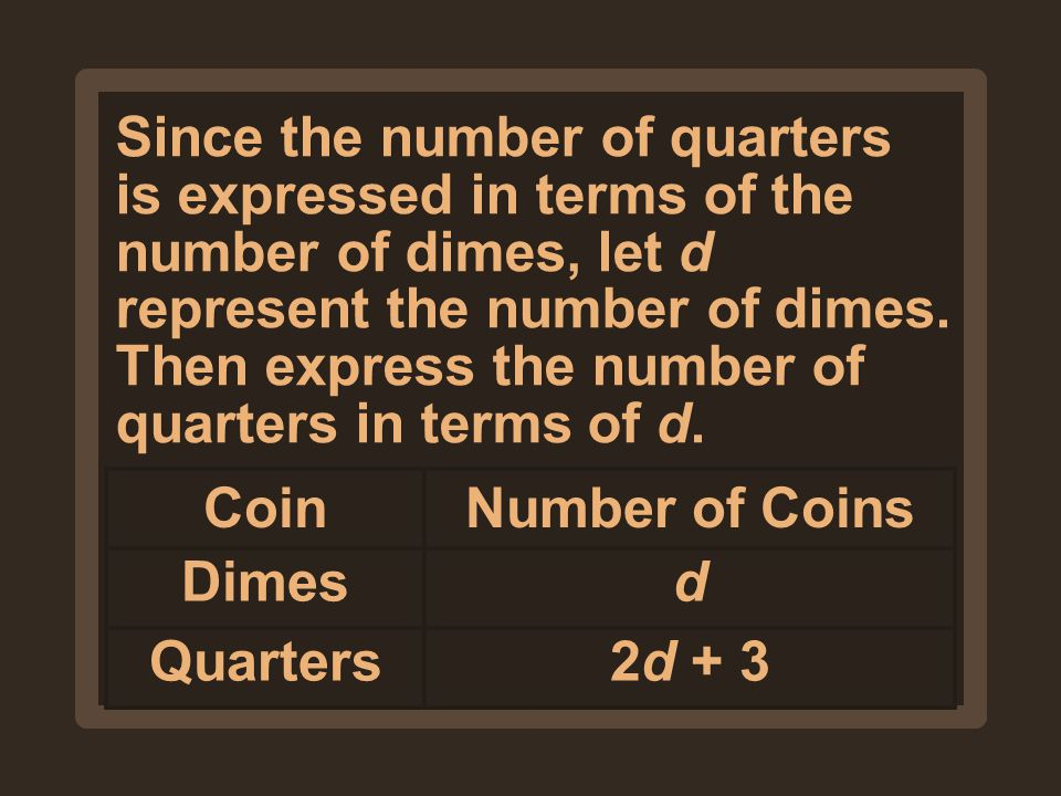 Since the number of quarters is expressed in terms of the number of dimes, let d represent the number of dimes. Then express the number of quarters in terms of d.
