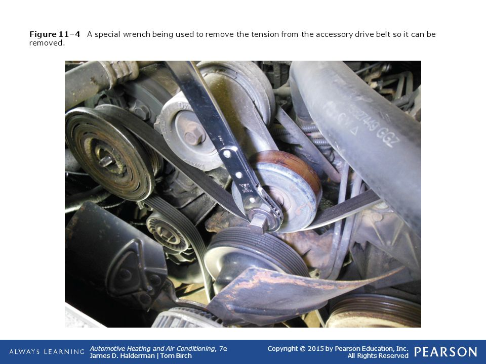 Figure 11–4 A special wrench being used to remove the tension from the accessory drive belt so it can be removed.