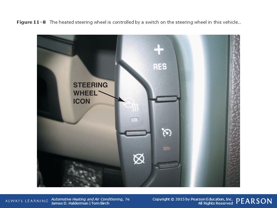 Figure 11–8 The heated steering wheel is controlled by a switch on the steering wheel in this vehicle..