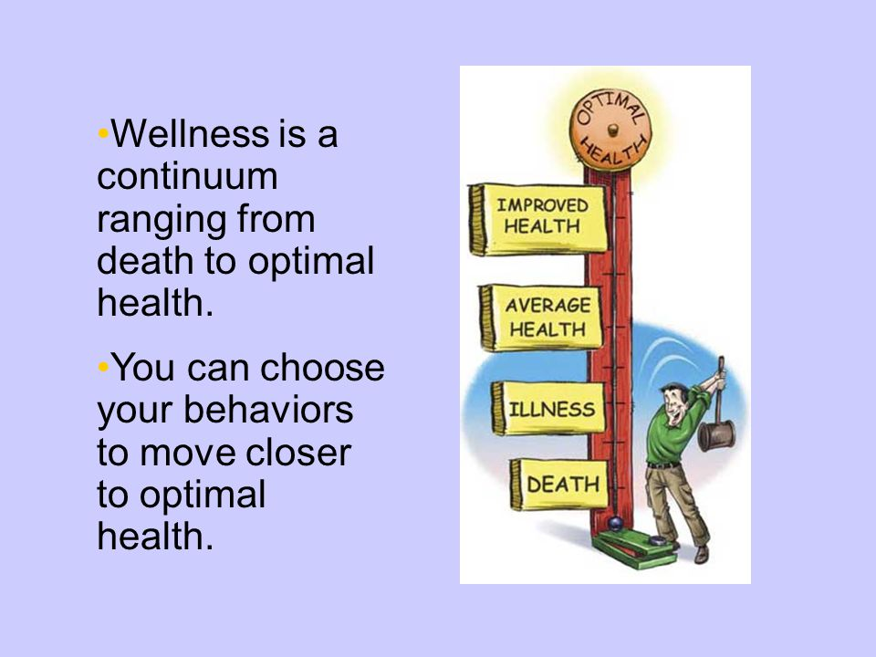 Wellness is a continuum ranging from death to optimal health.
