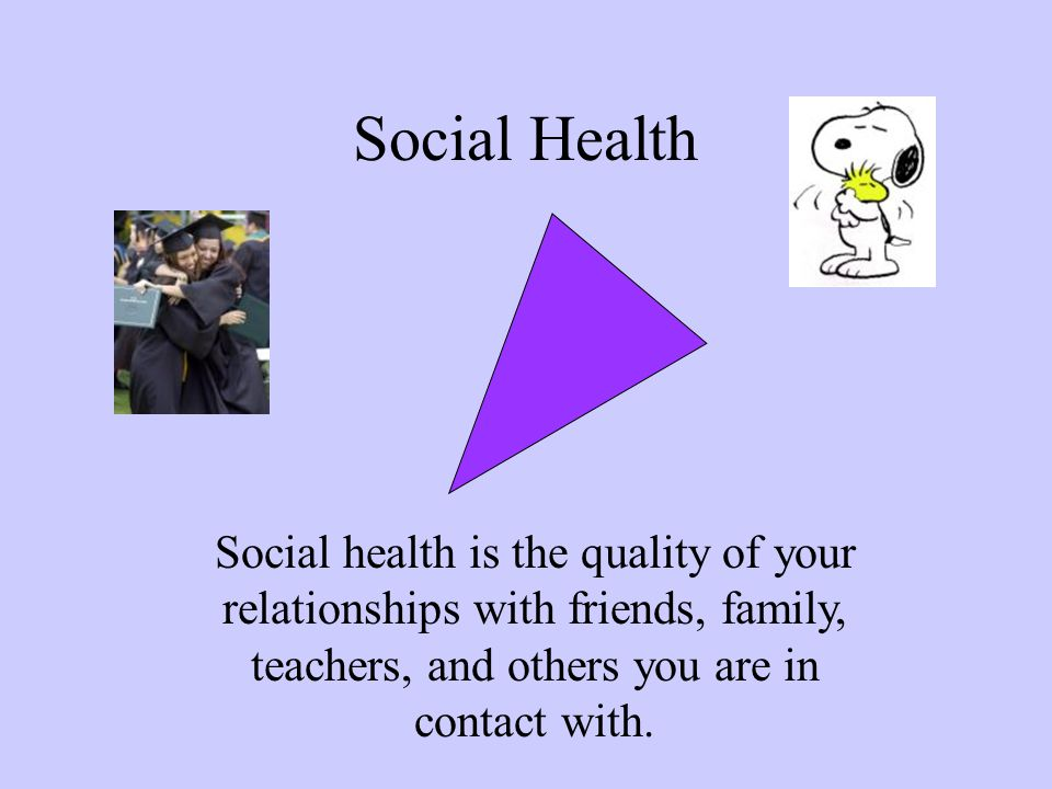 Social Health Social health is the quality of your relationships with friends, family, teachers, and others you are in contact with.