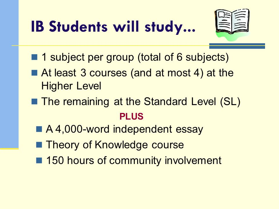 IB Students will study... 1 subject per group (total of 6 subjects)