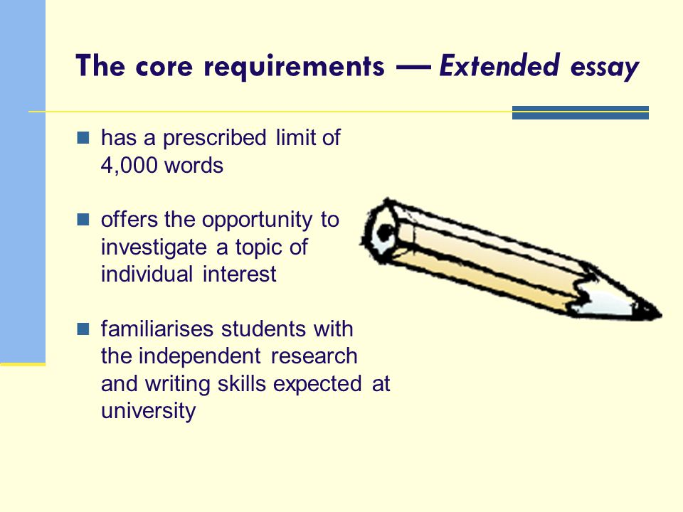The core requirements — Extended essay