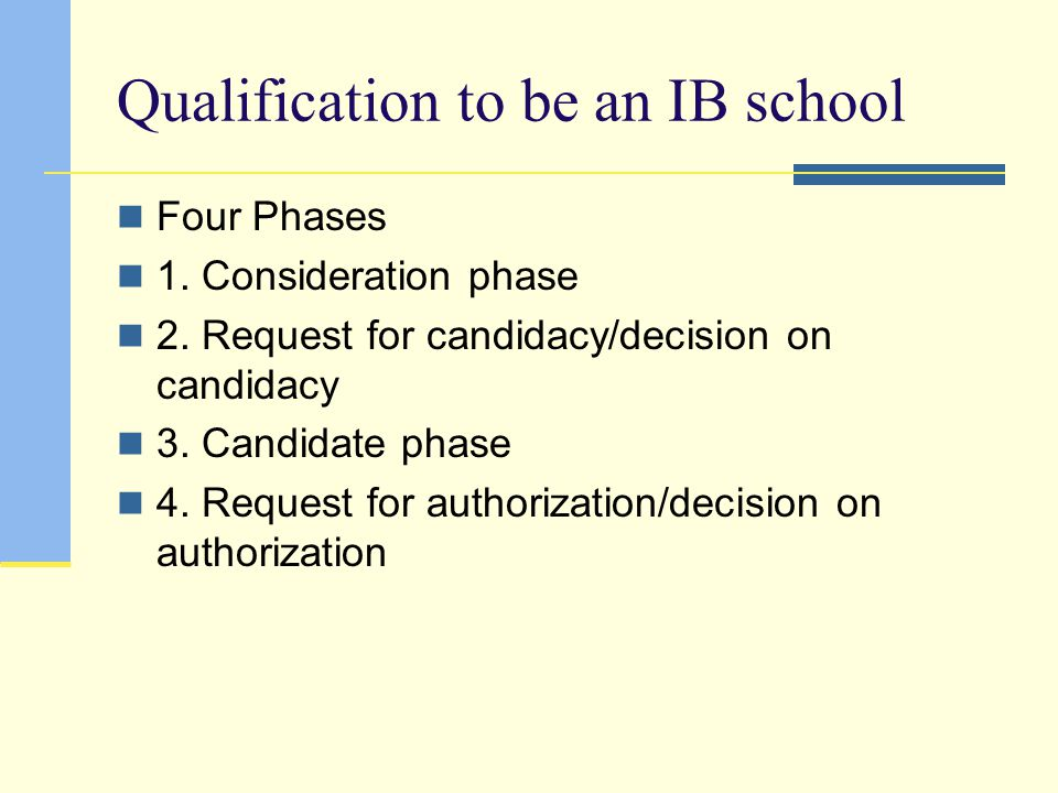Qualification to be an IB school
