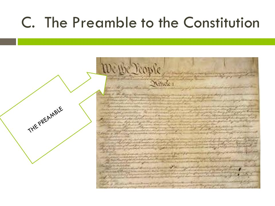 C. The Preamble to the Constitution