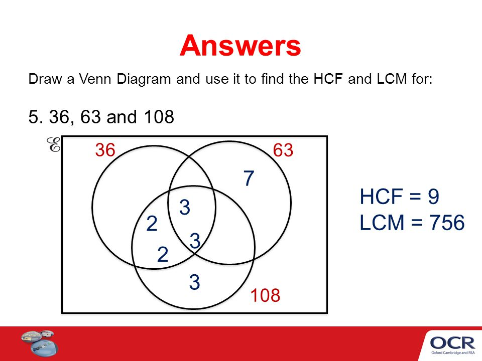 Venn Diagrams To Find The Hcf And Lcm Ppt Video Online Download