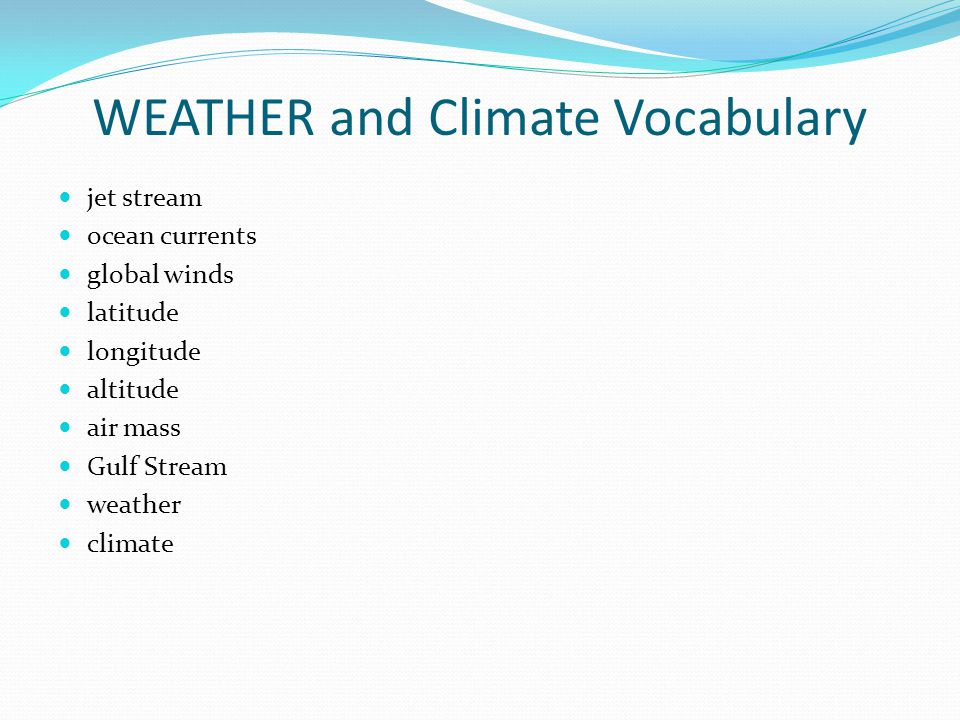 WEATHER and Climate Vocabulary