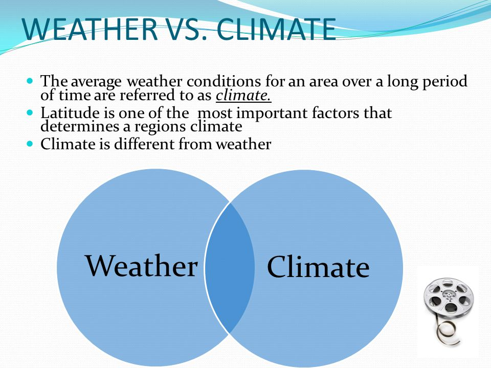 WEATHER VS. CLIMATE Weather Climate