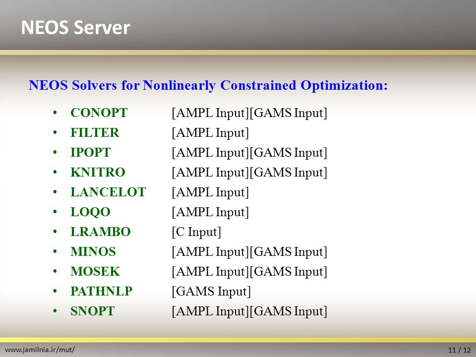 Ampl Solvers